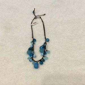 Blue Crystal Like Hanging Necklace
